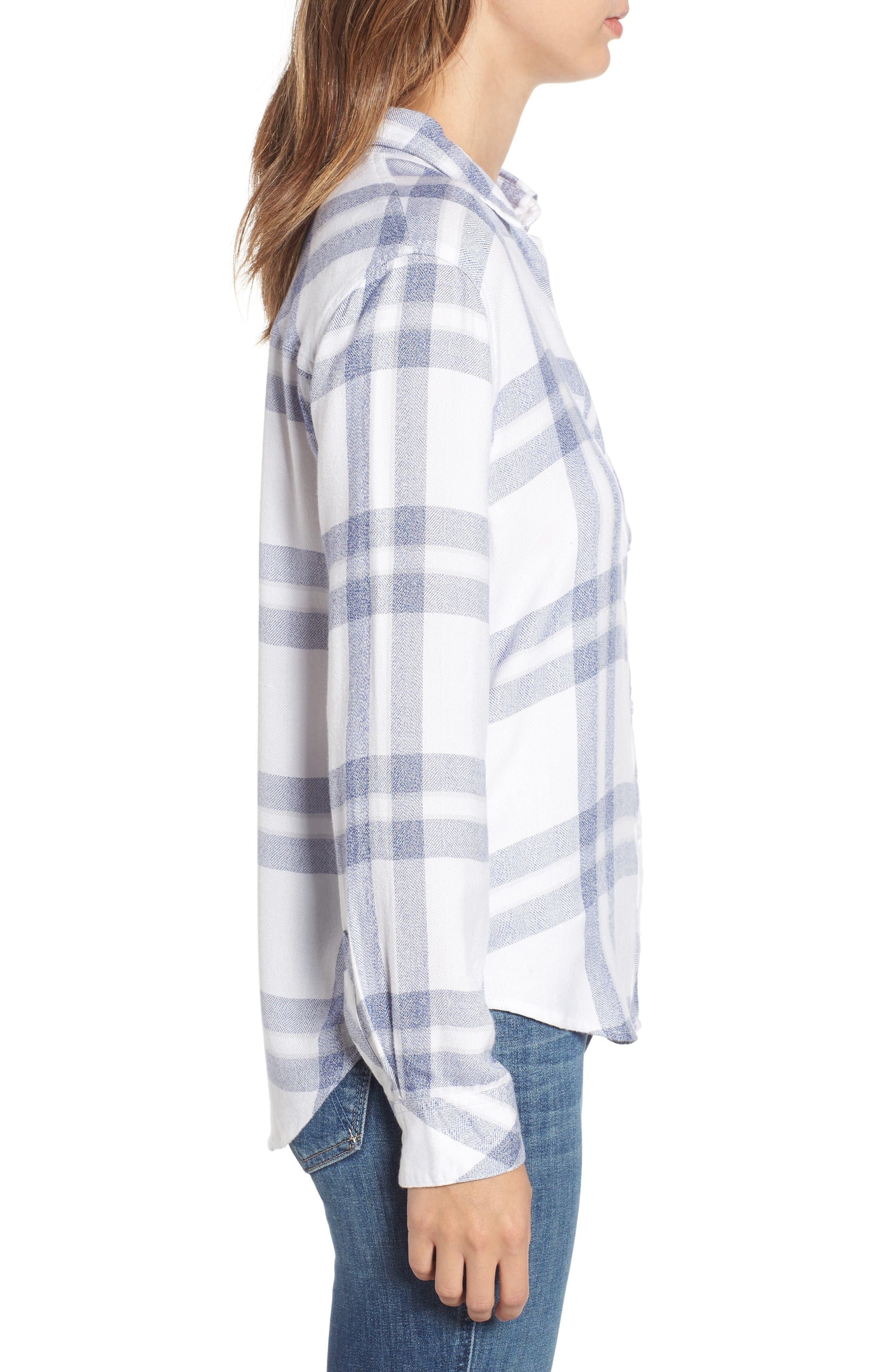 Hunter Plaid Shirt,                             Alternate thumbnail 6, color,                             Riverstone White