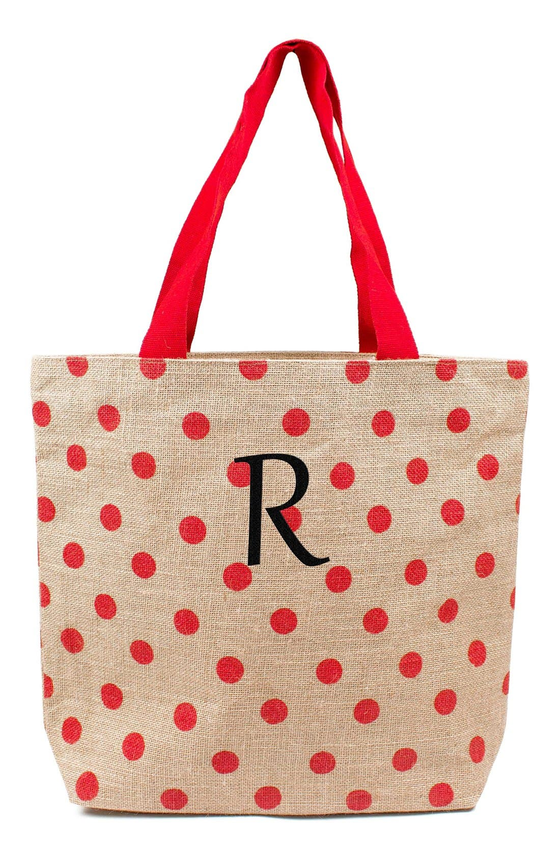 Alternate Image 1 Selected - Cathy's Concepts Monogram Polka Dot Jute Tote