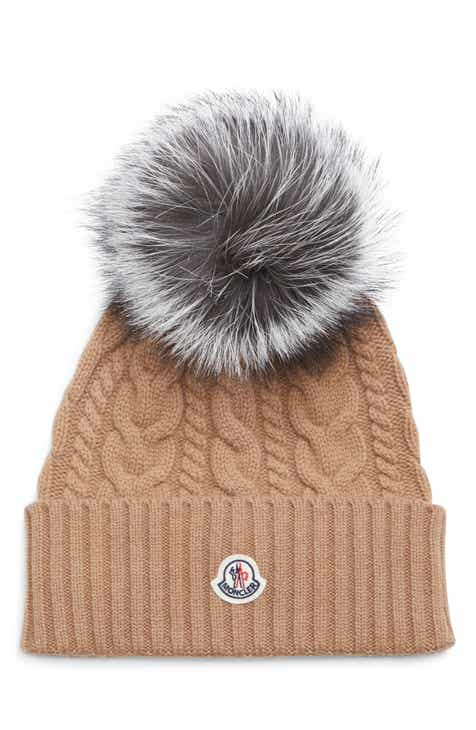 buy online ff51f 5bb2d Moncler Cable Knit Beanie with Genuine Fox Fur Pom