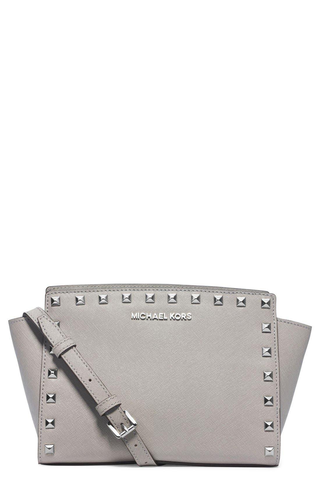 Alternate Image 1 Selected - MICHAEL Michael Kors 'Medium Selma' Studded Saffiano Leather Crossbody Bag
