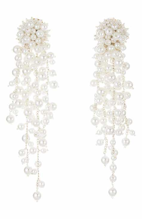 9383d3b621694 Oscar de la Renta Flower Chain Shoulder Duster Clip Earrings