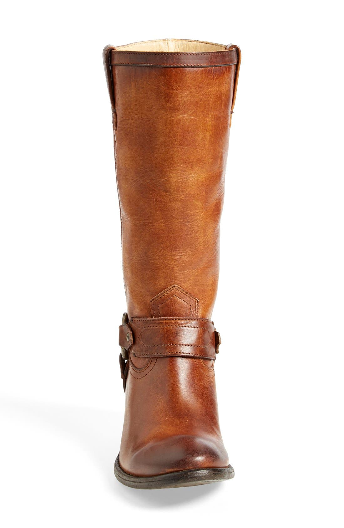 'Carson Harness' Western Mid Calf Riding Boot,                             Alternate thumbnail 3, color,                             Cognac Leather