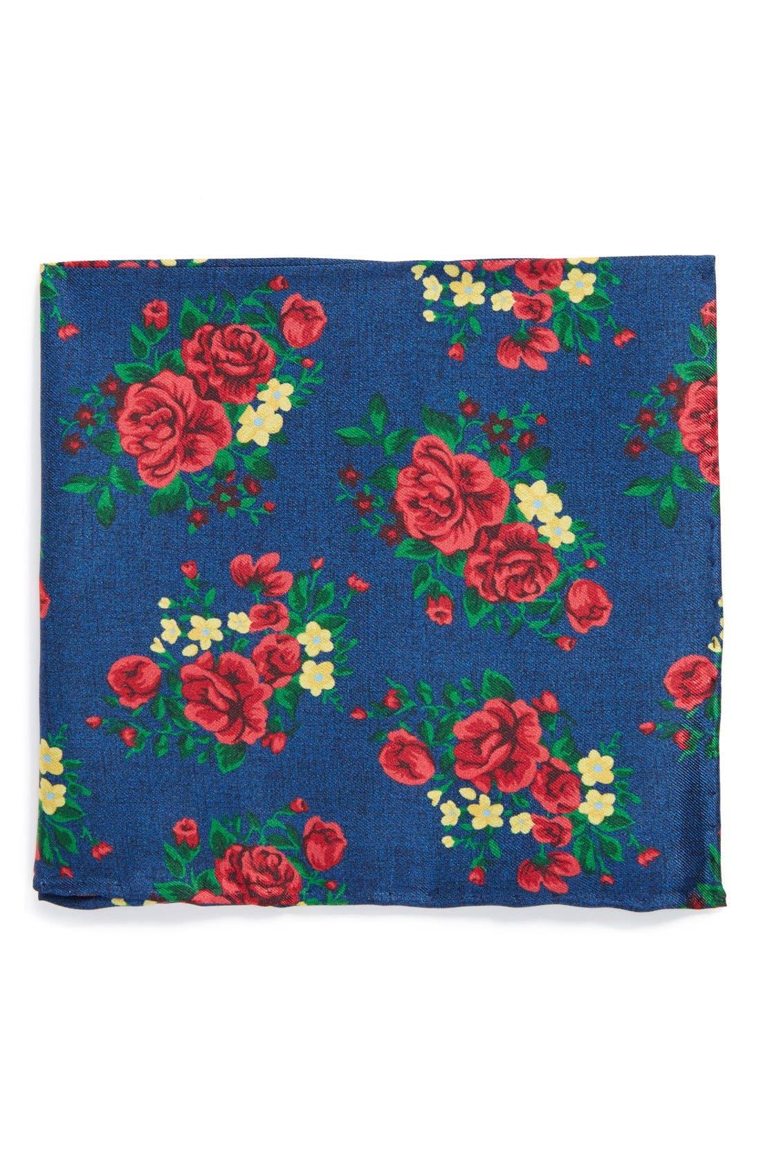Floral Silk Pocket Square,                         Main,                         color, Navy