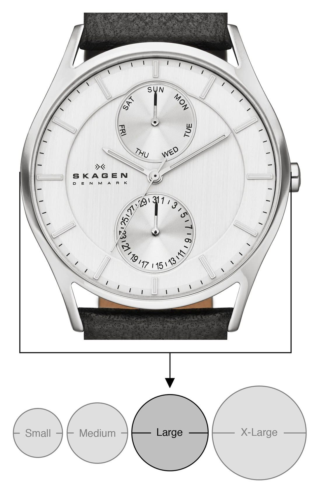 Alternate Image 5  - Skagen 'Holst' Multifunction Leather Strap Watch, 40mm