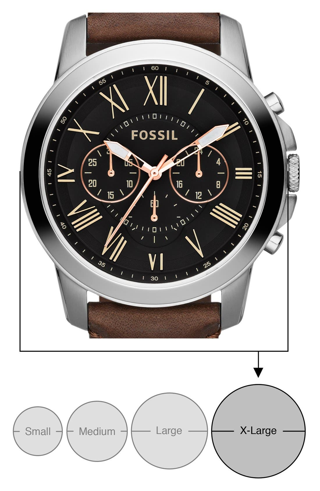 'Grant' Round Chronograph Leather Strap Watch, 44mm,                             Alternate thumbnail 4, color,                             Brown/ Black