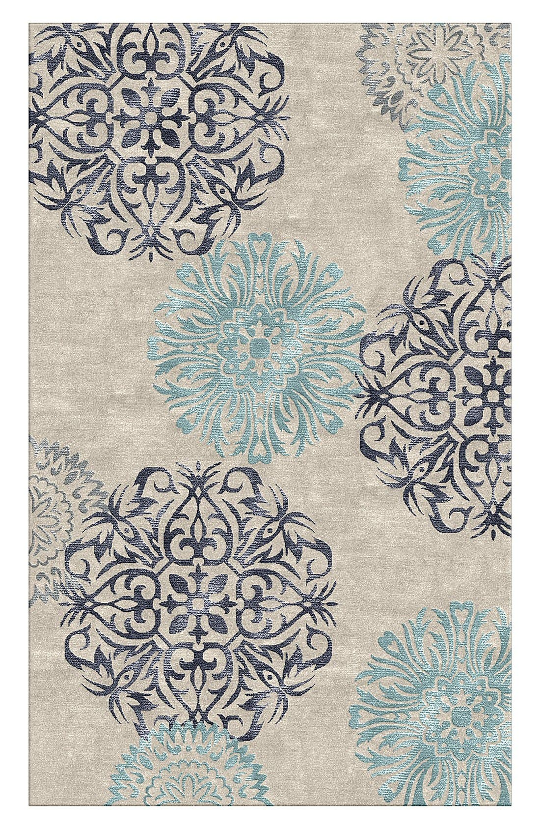 'Eden Harbor' Hand Tufted Wool Area Rug,                             Alternate thumbnail 8, color,                             Navy/ Aqua/ Grey