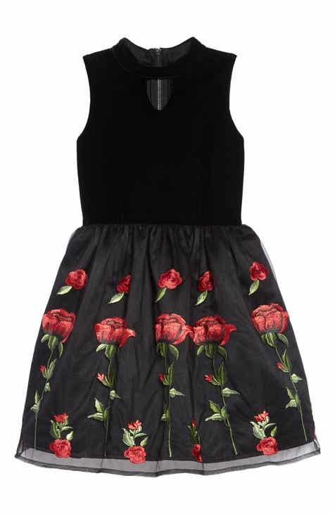 d0ef0f31121 BLUSH by Us Angels Floral Embroidered Stretch Velvet Dress (Big Girls)