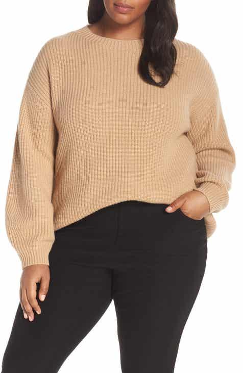 b59fc01ec88 Eileen Fisher Crewneck Shaker Cashmere Sweater (Plus Size)