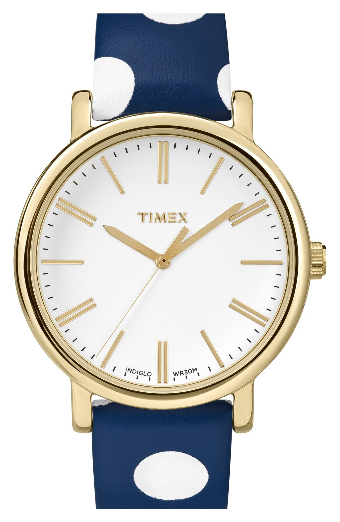 Alternate Image 1 Selected - Timex® 'Classic' Dot Leather Strap Watch, 38mm