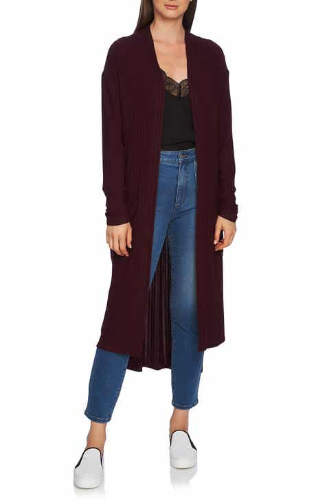 1.STATE Ruched Sleeve Space Dye Long Cardigan