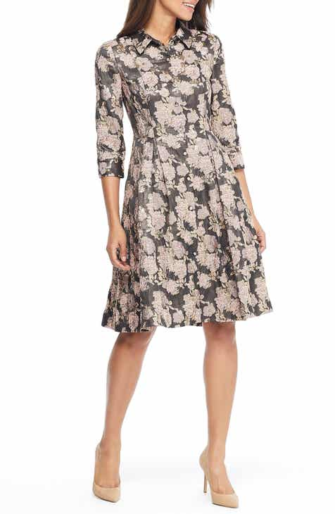 Gal Meets Glam Collection Lucy Golden Carnation Button Front Dress (Nordstrom Exclusive)