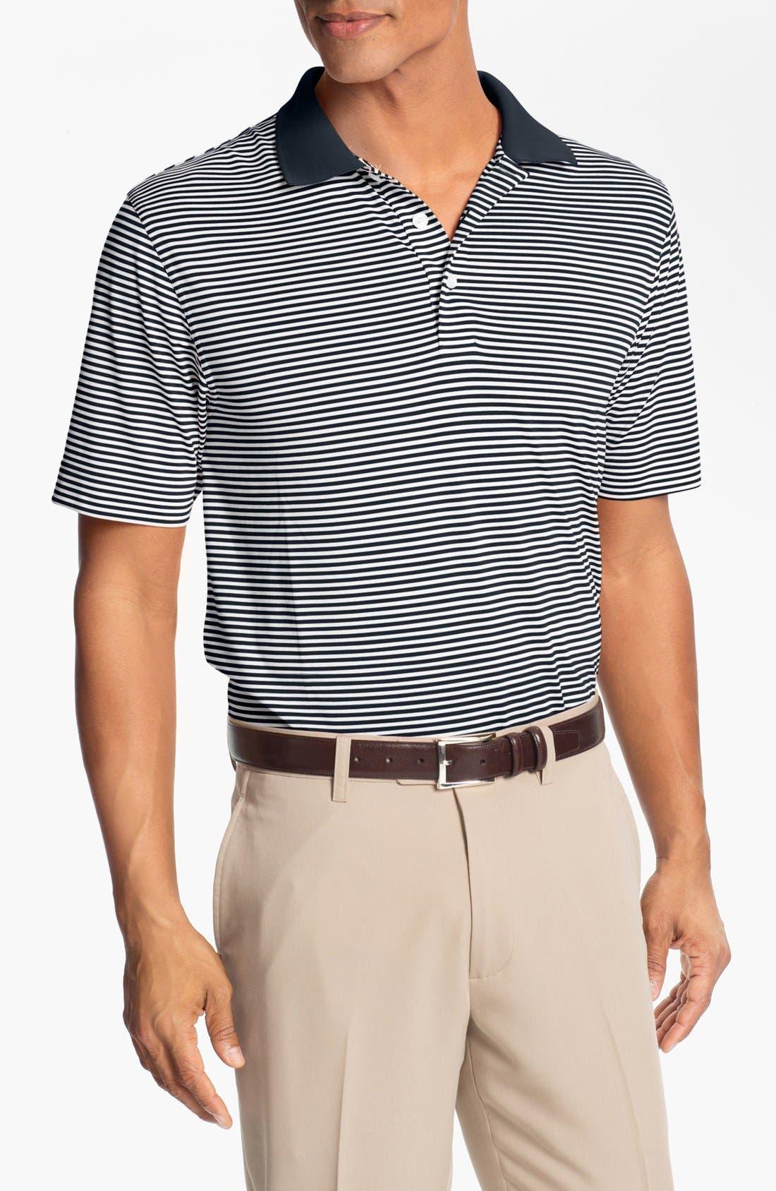 Trevor Stripe DryTec Polo,                         Main,                         color, Navy/ White