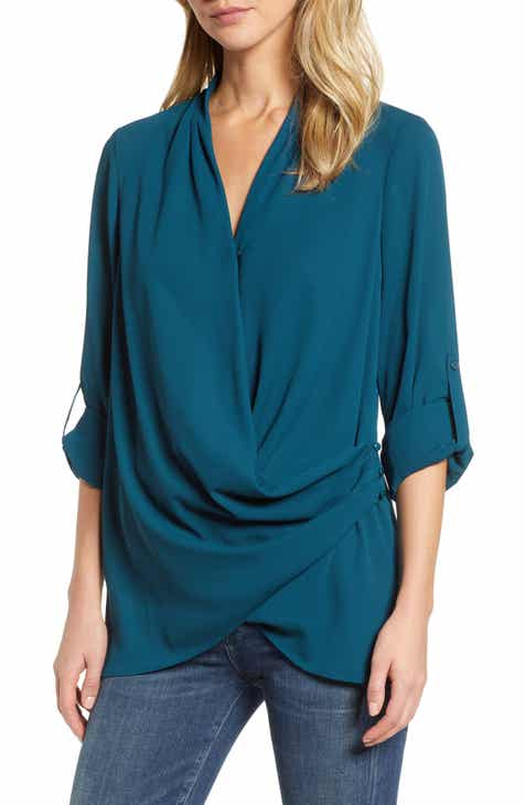 &.Layered Side Drape Blouse