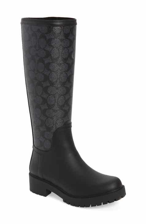 87115ac24 COACH Signature Logo   Floral Knee High Rain Boot (Women)