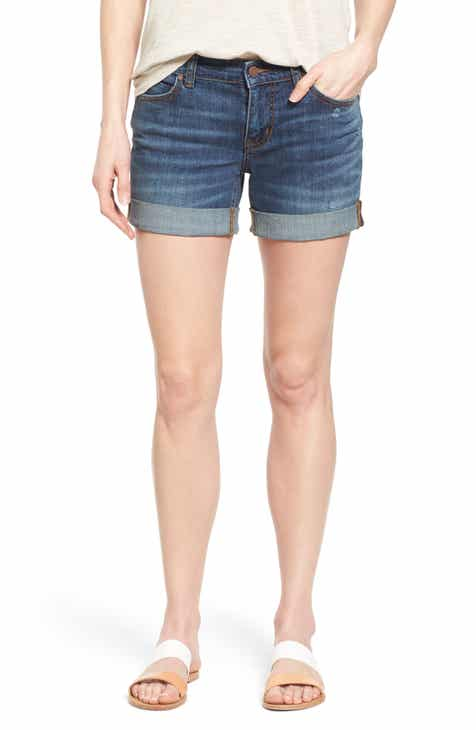 Caslon® Rolled Denim Boyfriend Shorts (Regular & Petite)