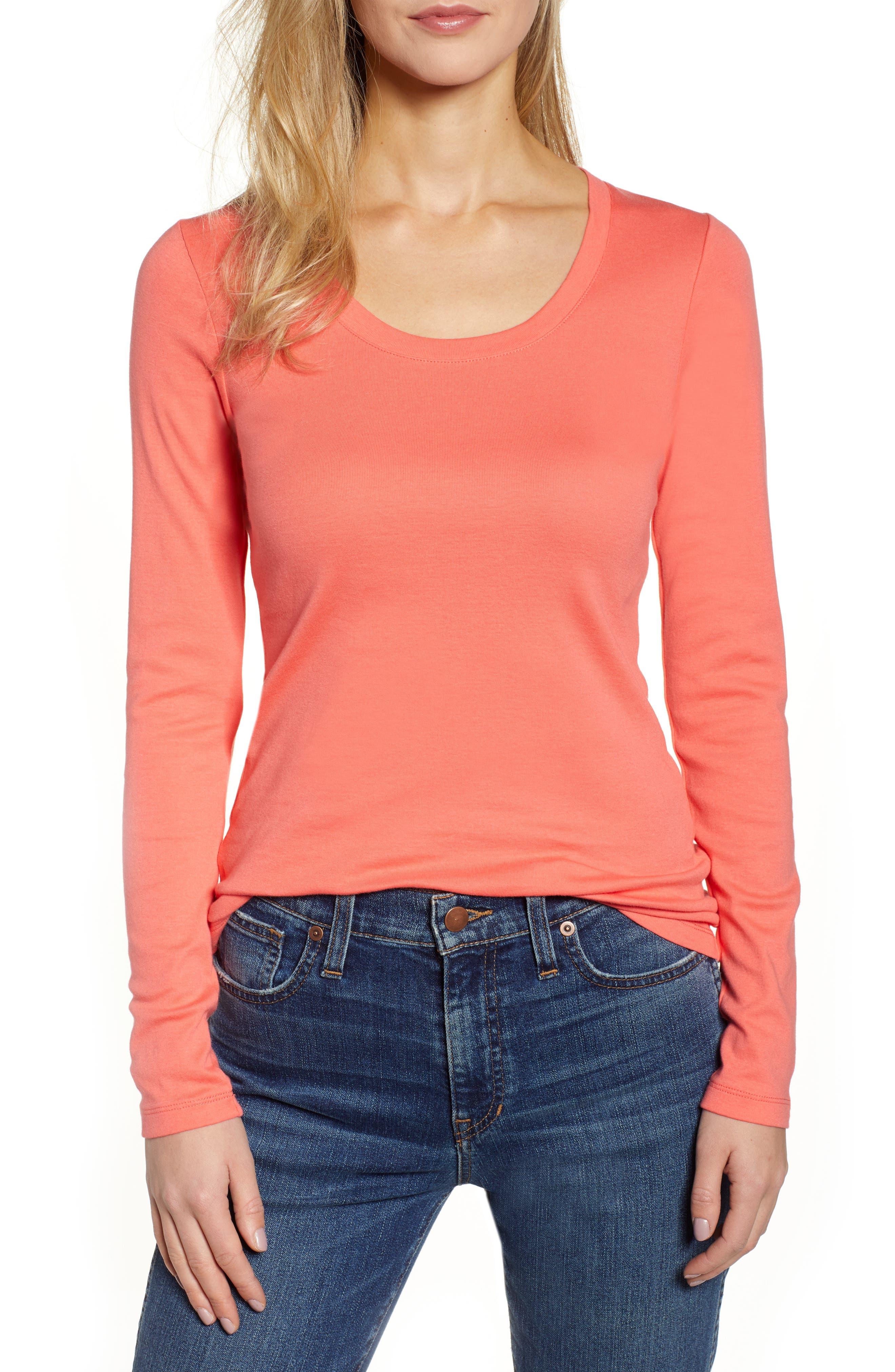 Camiseta redondo cuello con larga de manga XqArnwgBX