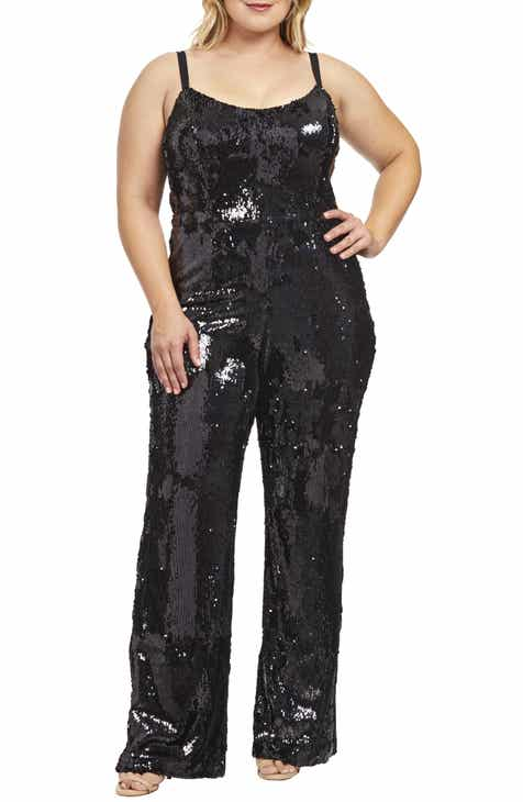 Dress the Population Victoria Sequin Jumpsuit (Plus Size) by DRESS THE POPULATION