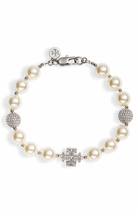 Tory Burch Pavé Crystal Charm Imitation Pearl Bracelet