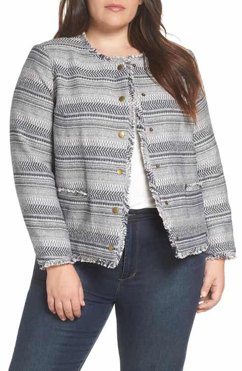 029fdf14d1881 STATE Rustic Fringe Tweed Jacket (plus Size)
