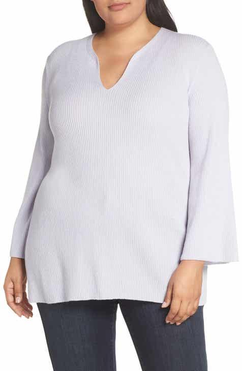 e733cc507af4d Lafayette 148 New York Rib Cashmere Tunic Sweater (Plus Size)