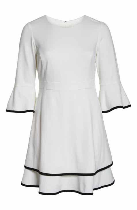 4848451620e Eliza J Bell Sleeve Tiered Fit   Flare Dress (Plus Size)
