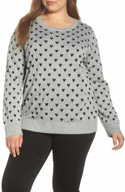 &.Layered Button Back Heart Sweater (Plus Size)