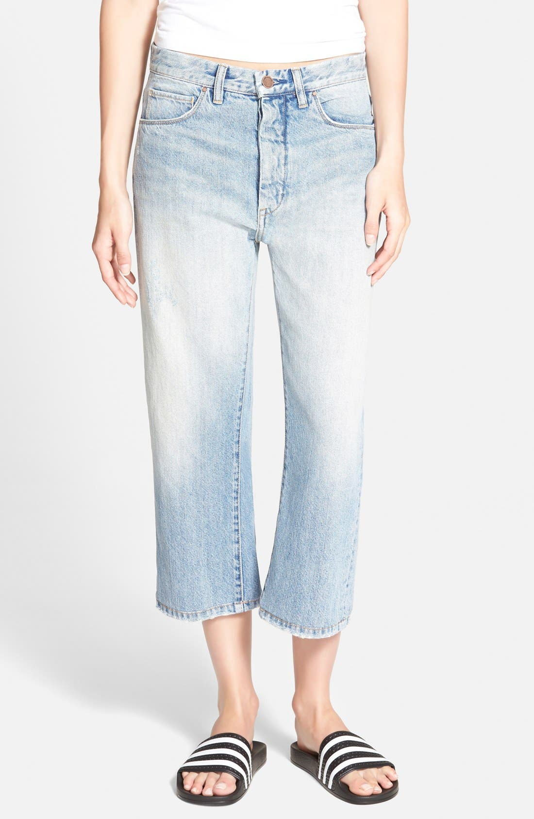 Alternate Image 1 Selected - BLANKNYC 'My Sugar Daddy' Crop Boyfriend Jeans (Blue)