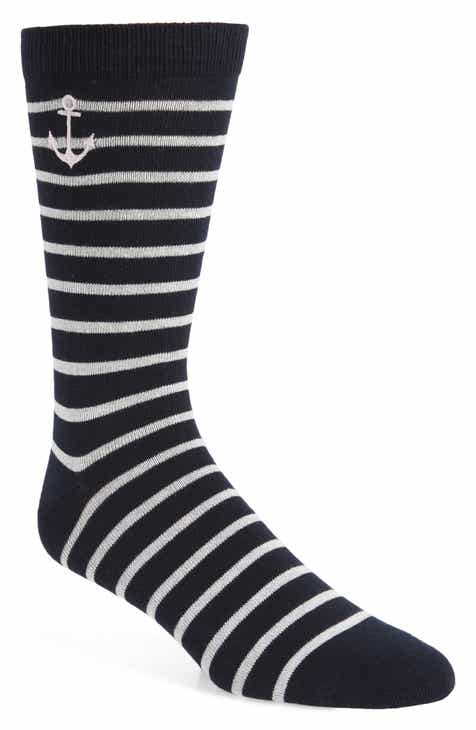 1901 Embroidered Anchor Stripe Socks