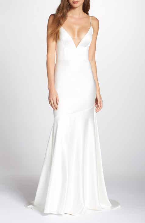 3618965768 Noel and Jean by Katie May Reflection Bias Cut Satin Wedding Dress