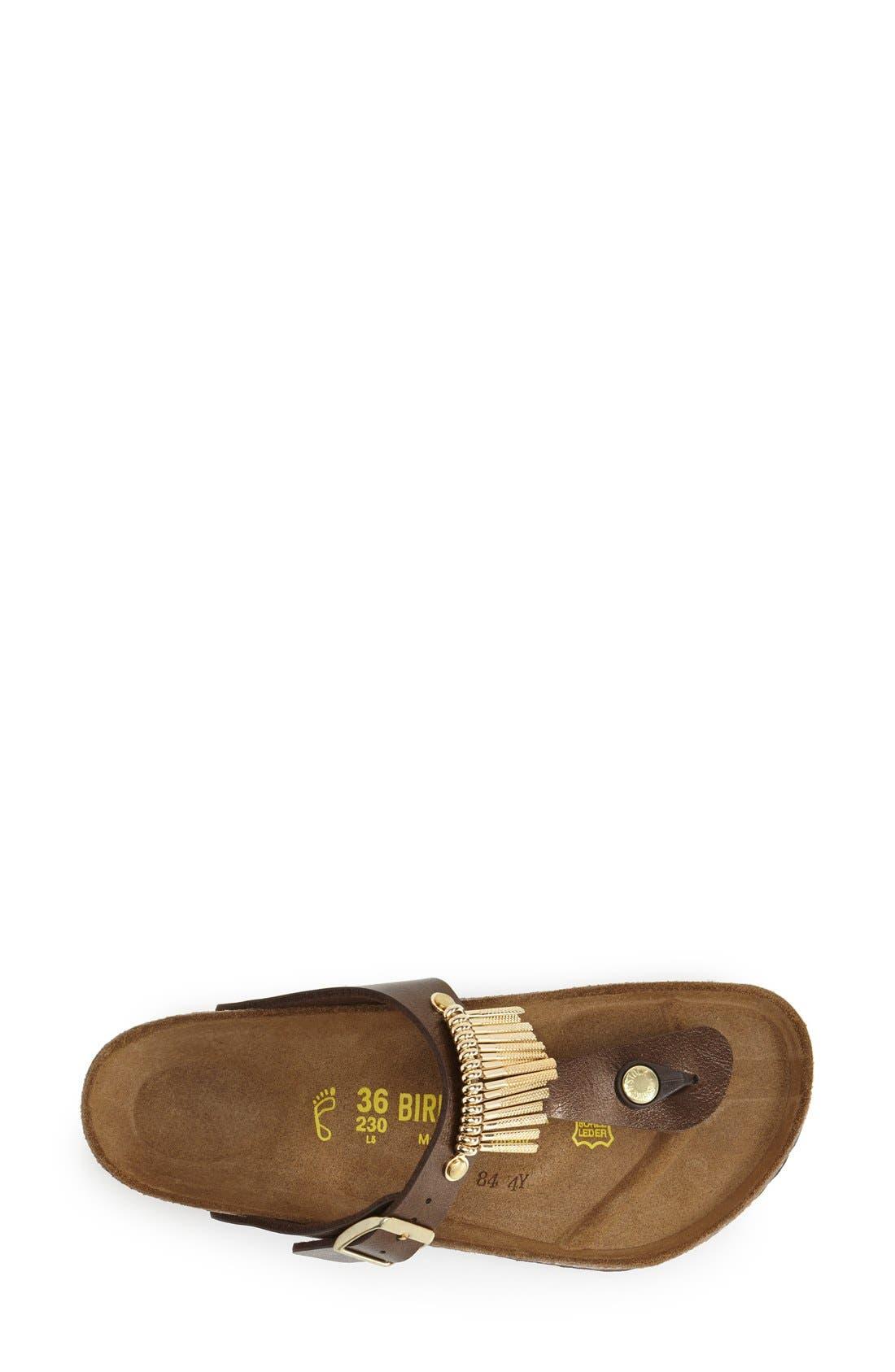 'Gizeh' Fringe Thong Sandal,                             Alternate thumbnail 3, color,                             Toffee