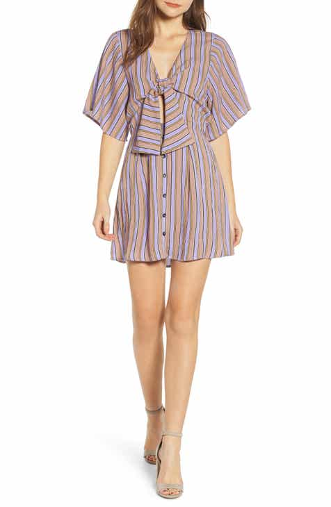 51906a3e84 MOON RIVER Stripe Tie Front Dress