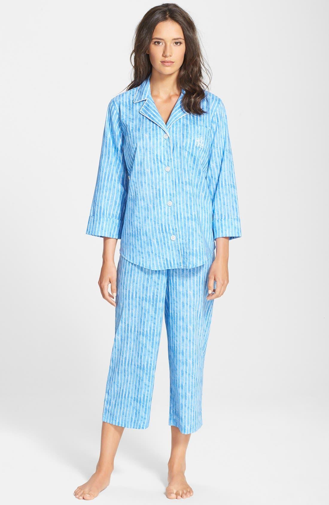 Alternate Image 1 Selected - Lauren Ralph Lauren Notch Collar Capri Pajamas