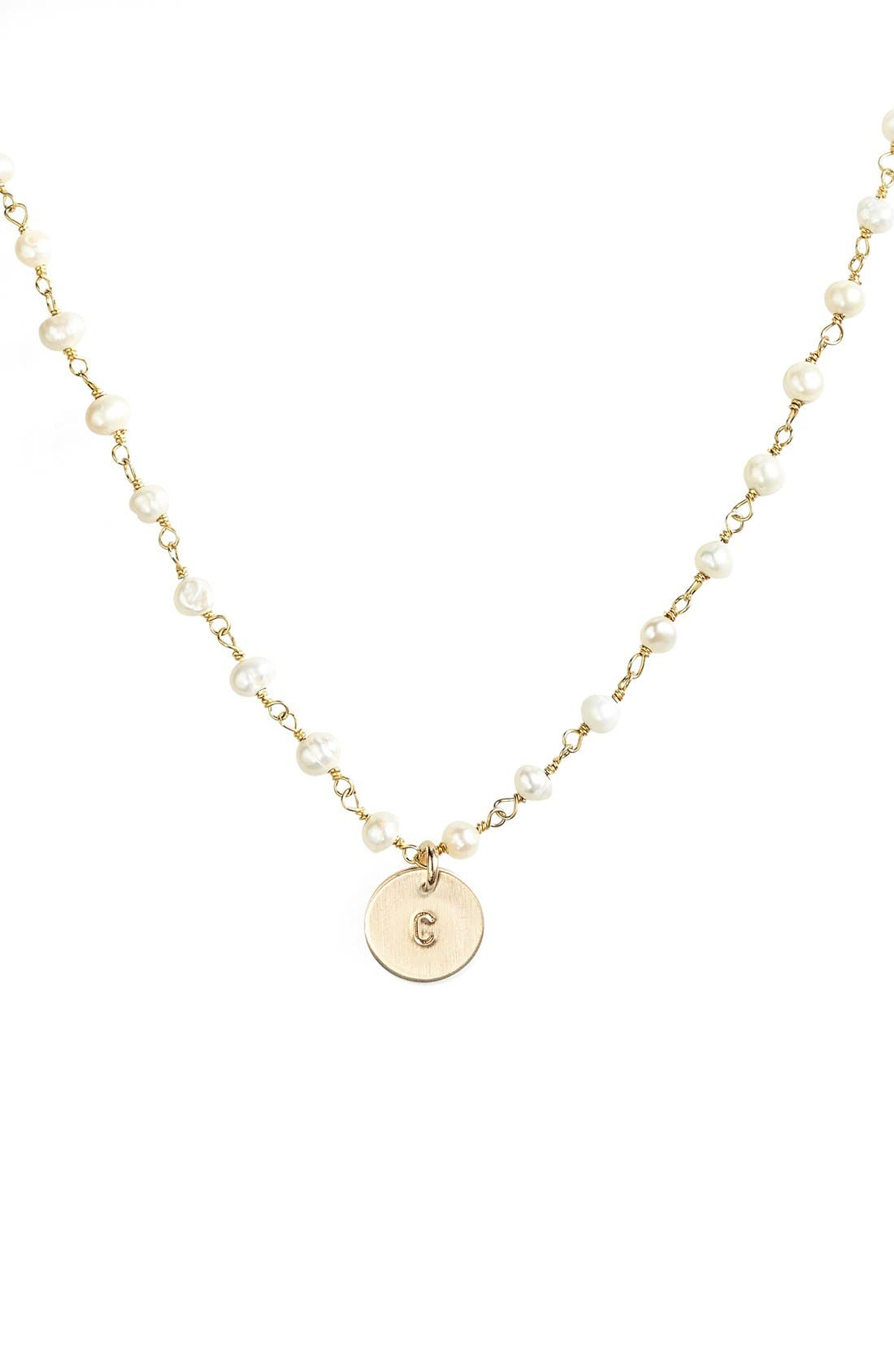 Alternate Image 1 Selected - Nashelle 14k-Gold Fill Mini Initial Disc Pearl Necklace