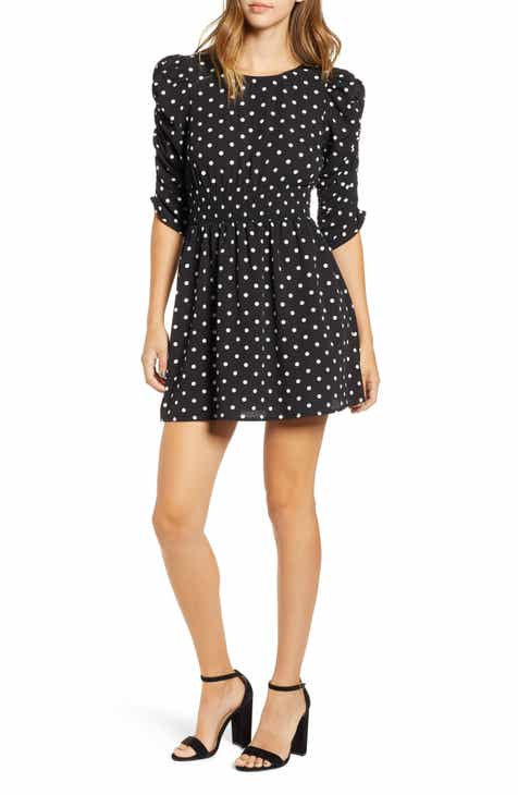 Speechless Smock Sleeve Dot Dress