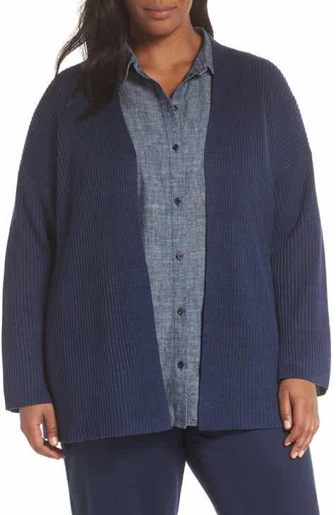3e3c8a169a873 Eileen Fisher Organic Linen Cardigan (Plus Size)