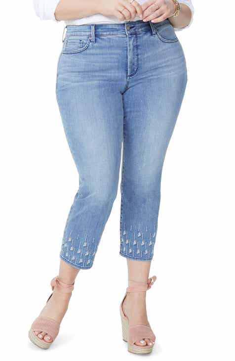 0dab01b3dc9 NYDJ Sheri Embroidered Stretch Slim Ankle Jeans (Point Dume) (Plus Size)
