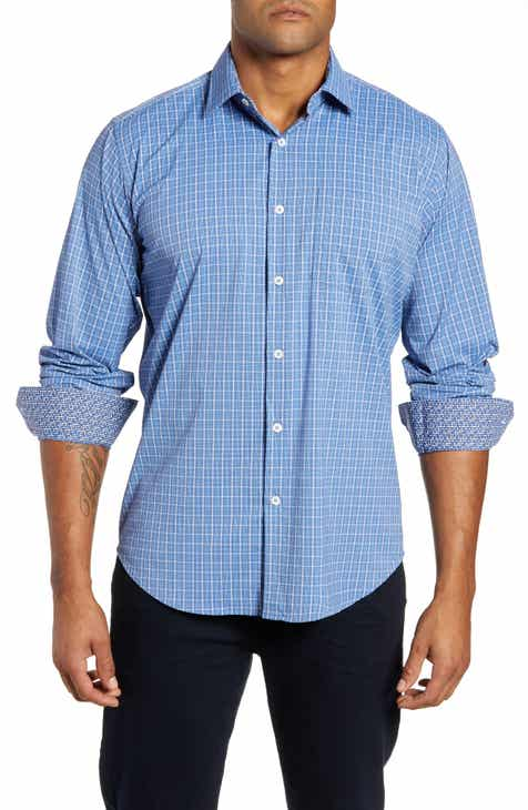 Bugatchi Classic Fit Plaid Performance Sport Shirt