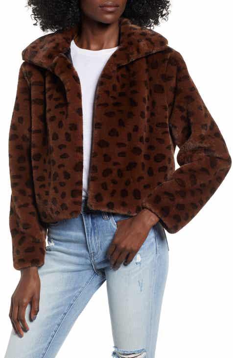Madison   Berkeley Brittney Leopard Print Faux Fur Jacket c24083521