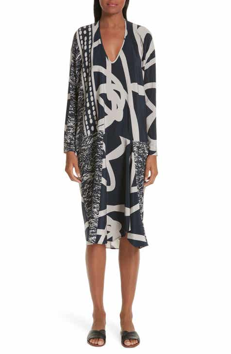 Zero + Maria Cornejo Greige Print Stretch Silk Dress by ZERO AND MARIA CORNEJO