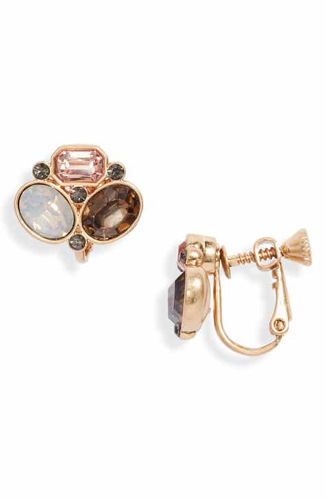 Vince Camuto Crystal Stud Clip Earrings
