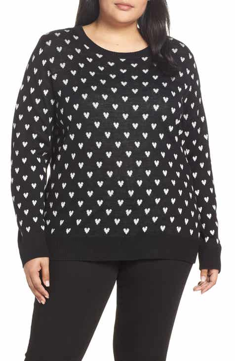 85f10309aff99 Layered Button Back Heart Sweater (Plus Size)