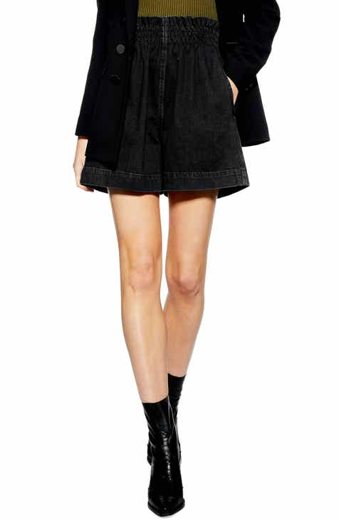 Topshop Paperbag Waist Denim Shorts (Washed Black) by TOPSHOP