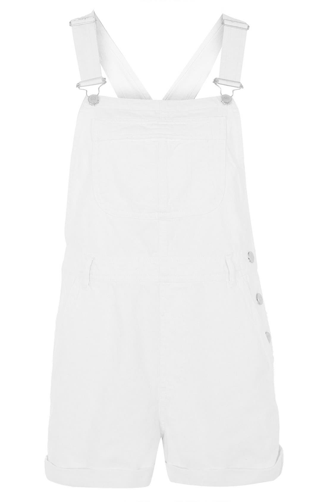 Alternate Image 3  - Topshop Moto Dungaree Short Overalls (White)
