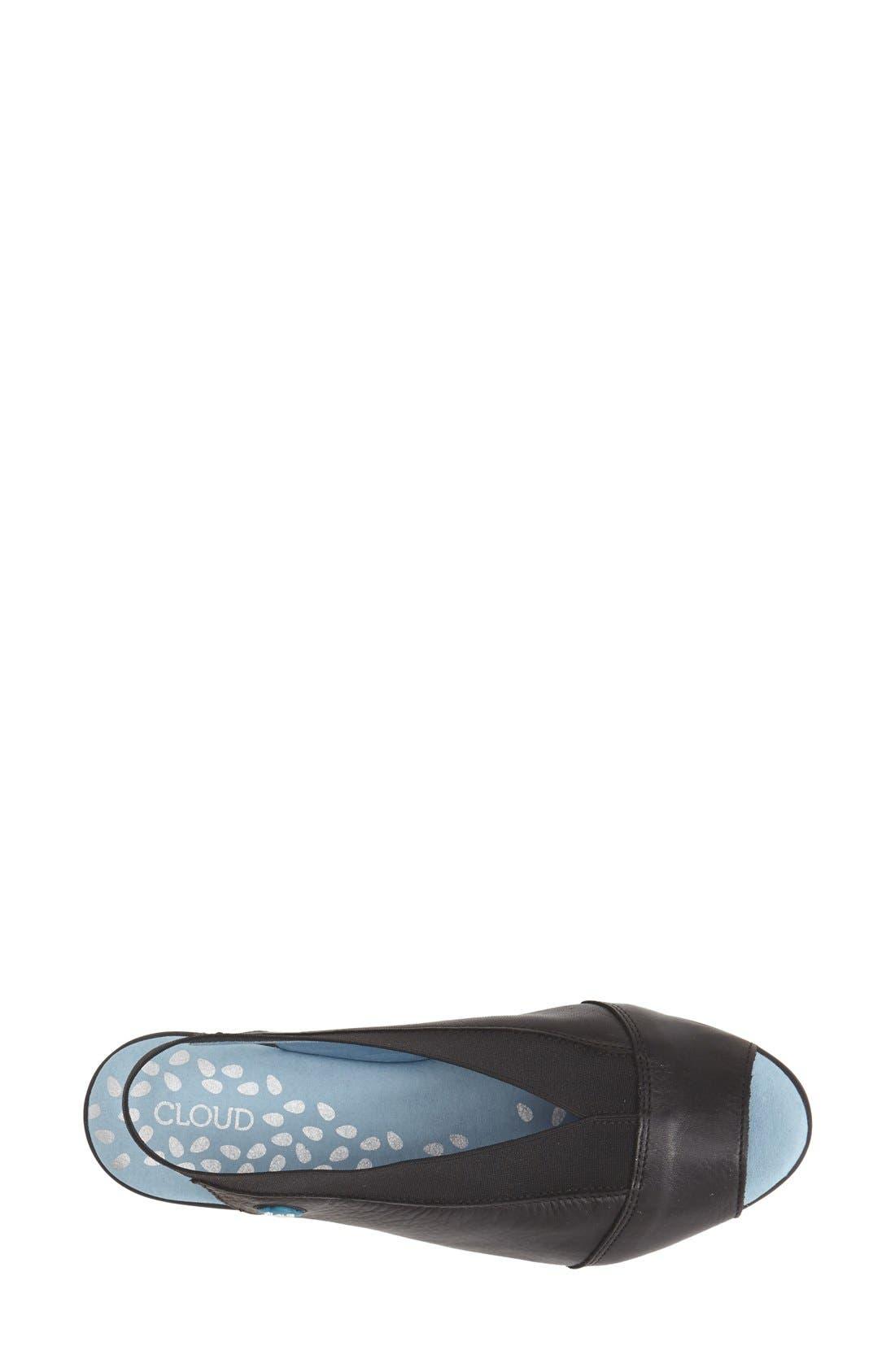 'Caliber' Peep Toe Leather Flat,                             Alternate thumbnail 3, color,                             Black