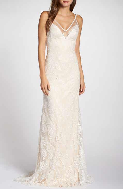 a635c21b16a Tadashi Shoji Lace Appliqué V-Neck Tulle Wedding Dress