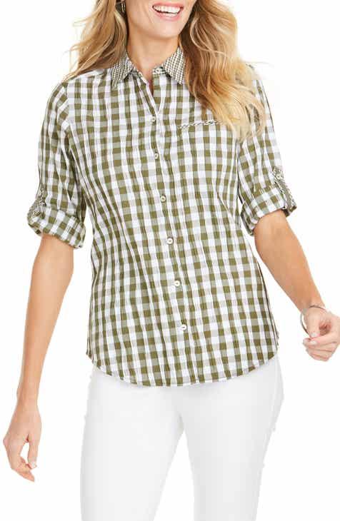 bb6e145c2e7 Foxcroft Reese Crinkle Gingham Shirt