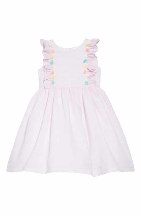 Pippa & Julie Tassel Trim Seersucker Dress (Toddler Girls)