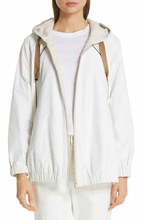 Brunello Cucinelli Monili & Satin Trim Hooded Taffeta Jacket by BRUNELLO CUCINELLI