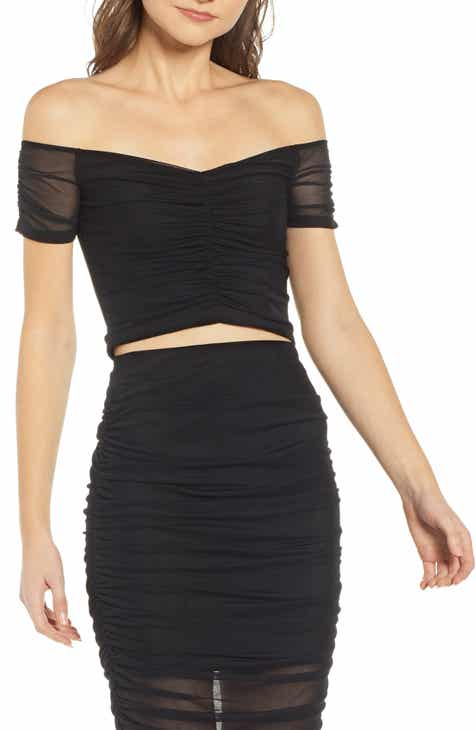 e94213d288f1b Leith Off the Shoulder Crop Top.  45.00. (1). Product Image. BLACK  WHITE