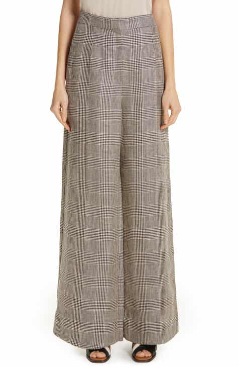 Brunello Cucinelli Prince of Wales Wide Leg Pants by BRUNELLO CUCINELLI